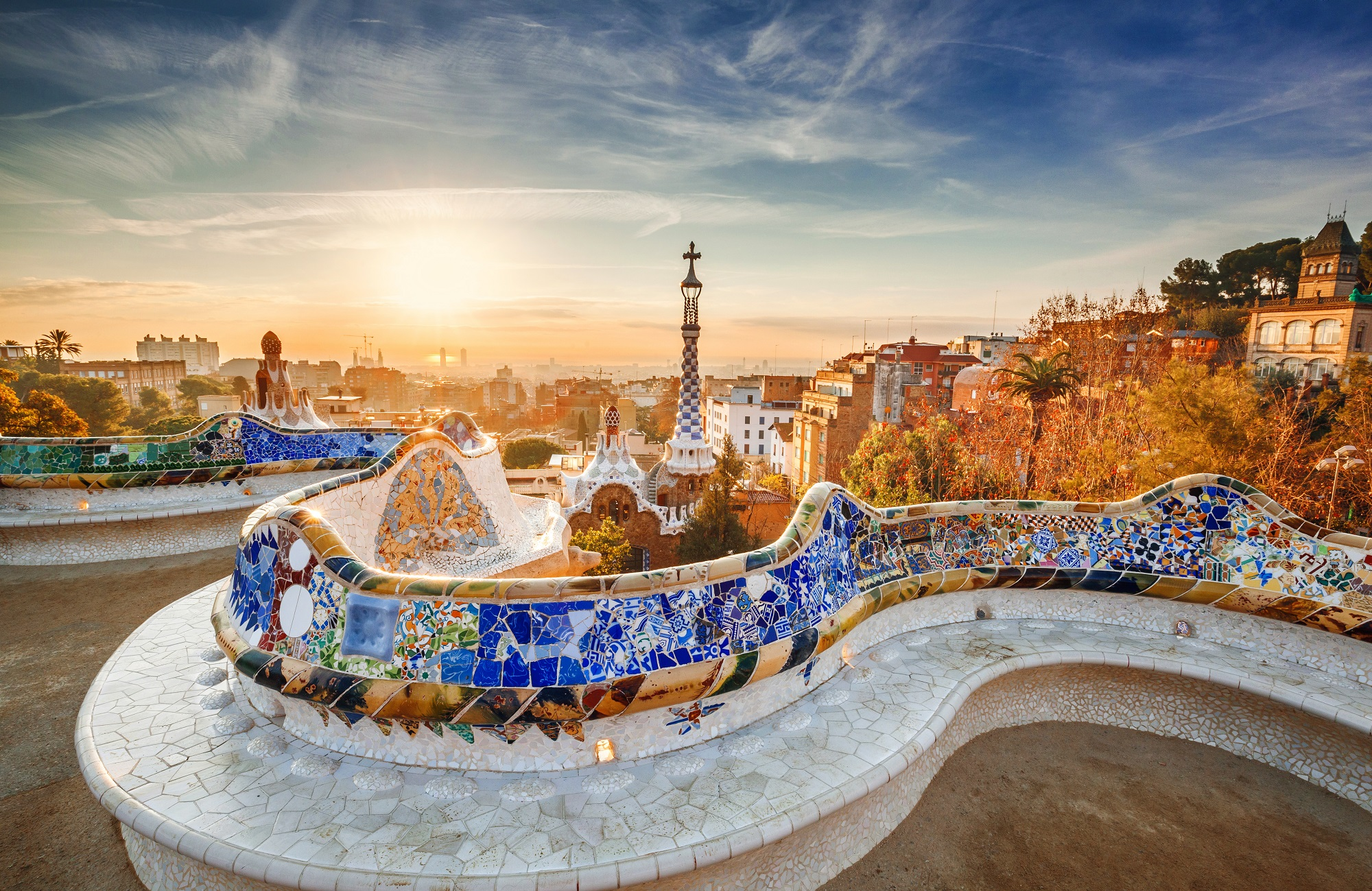 Barcelona Facts - Barcelona and Park At Sunset